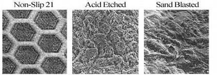 Microphotos of anti-slip floor treatments
